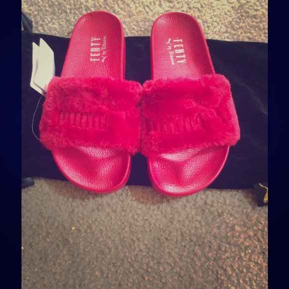 puma fenty fur slides red