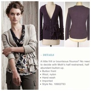 Anthropologie MOTH Split Decisions Ruffle Cardi