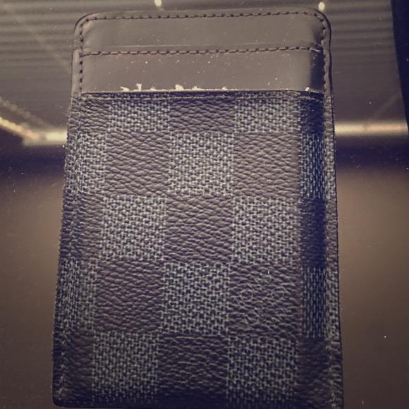 detailing 91674 41776 LVDamier Cobalt Men's Money Clip Wallet