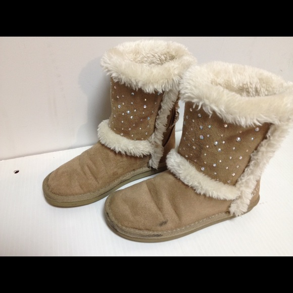 Justice Shoes - Justice beige sparkle boots 13
