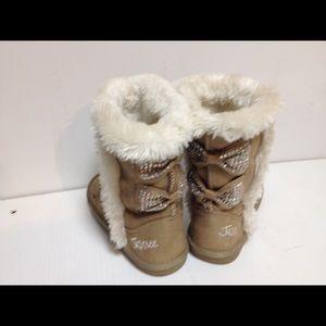 Justice Shoes - Justice beige sparkle boots 13