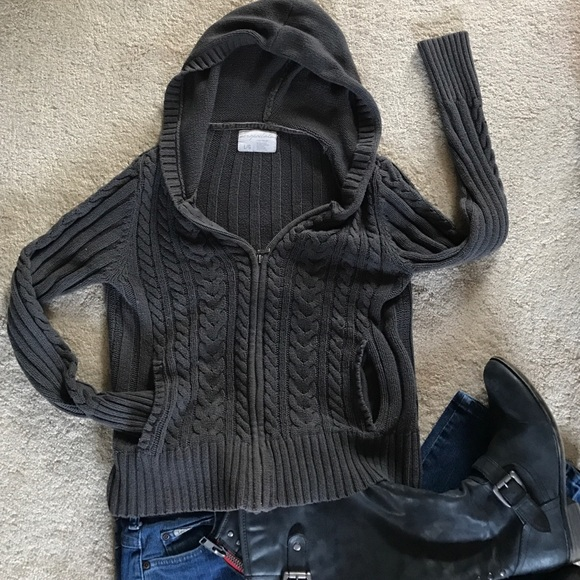 Aeropostale Sweaters Cable Knit Hooded Sweater Poshmark