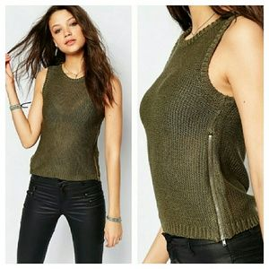 ASOS Sweaters - Asos Olive Green Sweater w/Zips