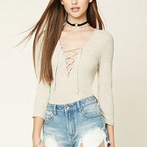 It's Love Tops - ❤ | HP | oatmeal sexy lace-up bodysuit |