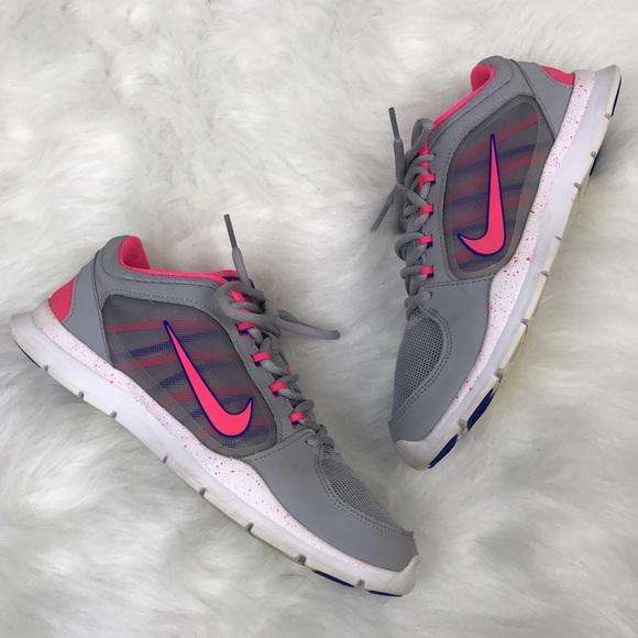 67fb6ba5bbc7  Nike  Flex Trainer 4 Sneakers Gray Hot Pink Run 8.  M 5817a5982fd0b736a805ae9f