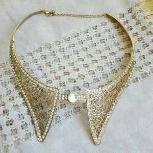 Gold and Rhinestone Collar Necklace