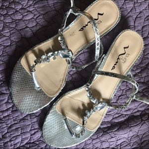 2d7a3aa151d9 David s Bridal Shoes - Touch of Nina Kiley silver Sandals