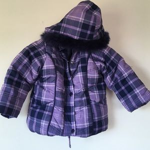 Big Chill Other - Little girl purple plaid snow coat
