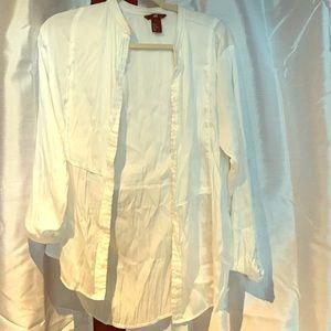 White Silk Button Down Shirt