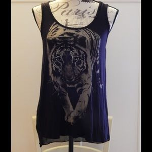 Issi Black Tiger Graphic Tank with Sheer Back Sz S