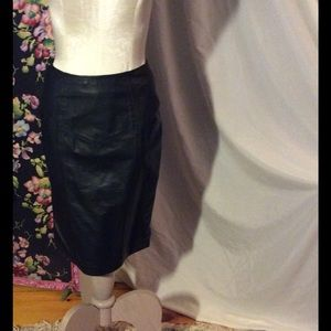 Vintage Dresses & Skirts - Black leather pencil skirt