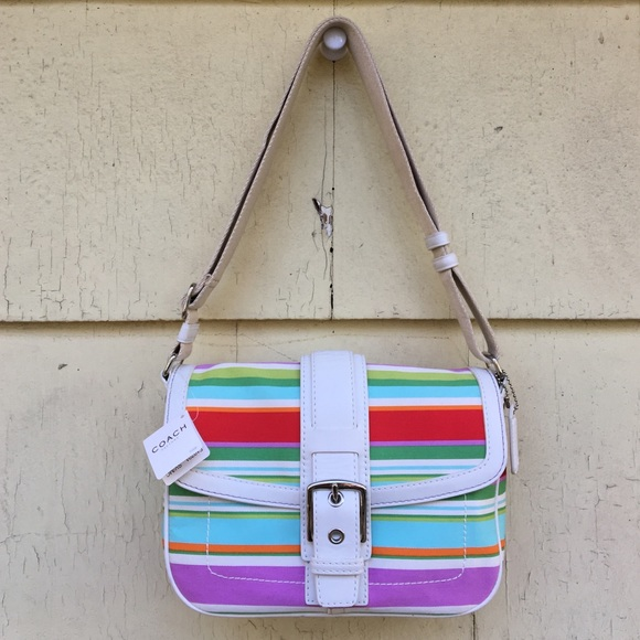 88b2eea97f05 Coach Bags | Multicolor Strip Flap Bag | Poshmark