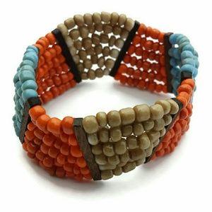 Jewelry - Wide Tribal Beaded Cuff Bracelet