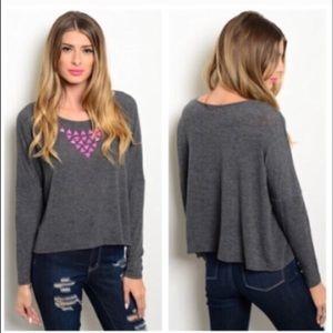 Sweaters - GRAY LONG SLEEVE SWEATER