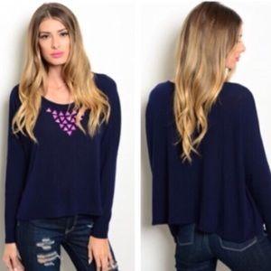 Sweaters - NAVY BLUE LONG SLEEVE SWEATER