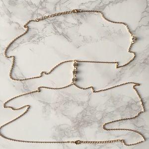 Gold Thin Delicate Rhinestone Body Chain Necklace