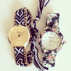 Friendship Bracelet Watch in Black and White