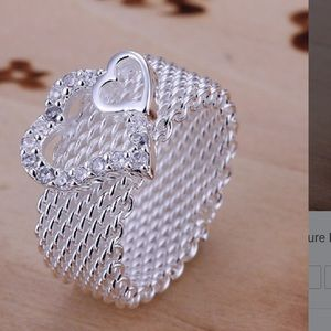 Jewelry - New 925 Double heart ❤️ ring size 8