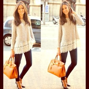DARLING Sweaters - 🆕 PRETTY CREAM CROCHETED LACE BOTTOM TOP