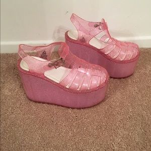 feaa7ac07352 Shoes - UNIF Hella Jelly Pink Platform Glitter Jelly