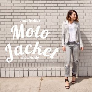Collection B Jackets & Blazers - HP!🌿 Neutral faux leather moto jacket