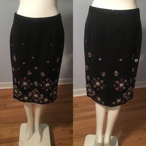 Beaded White House Black Market Pencil Skirt