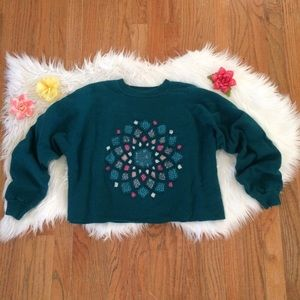 Vintage 90's Embroidered Cropped Pullover 