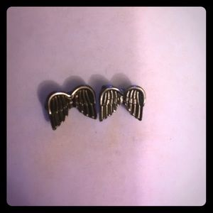 Gunmetal Angel Wings Stud Earrings