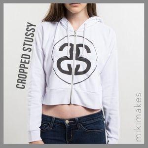 [ stussy ] white cropped zip hoodie sweatshirt