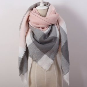 Accessories - Gray and Pink Blanket Scarf