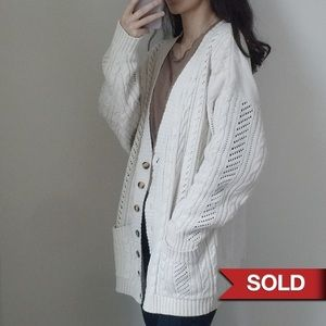 White oversized cardigan