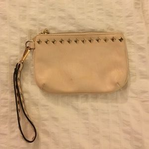 Light Pink Studded Leather Wristlet