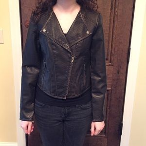 Vegan leather moto jacket, The Limited