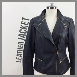 Zara Jackets & Blazers - ZARA • moto zip up leather jacket high collar