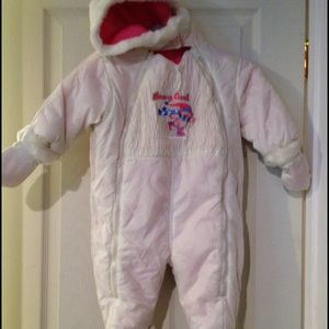 Outbrook kids reversible pink white snowsuit 18m