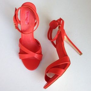 NEW Topshop Cross Strap Ankle Strap Heels - Red