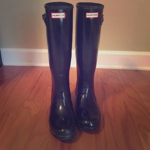 Hunter Boots Shoes - Like new Tall glossy black hunter rain boots