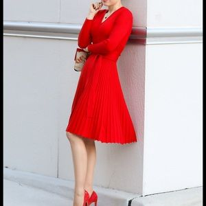 Pleated Knit Jersey Dress