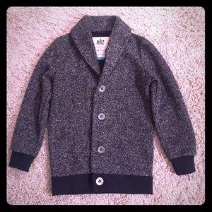 Boys Button Up Black/Dark Gray sweater