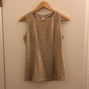Banana Republic fitted gold lace top