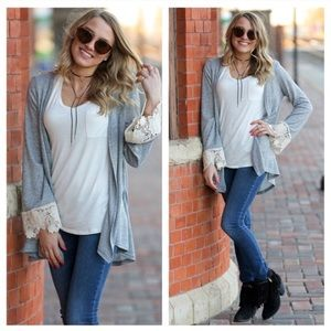 Soft grey lace Cardigan with lace sleeve