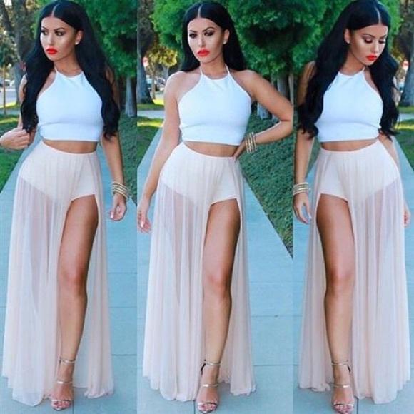 d596e7cb2f33 Hot Miami Styles Dresses & Skirts - EUC nude sheer chiffon panty maxi skirt  w/