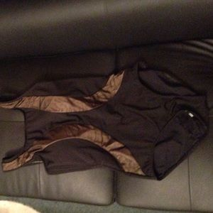 Monif C. Other - New Monif c plus Sz swimsuit 12w gold black mesh