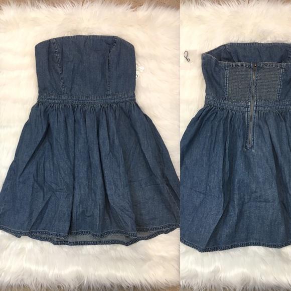 Black denim strapless dress