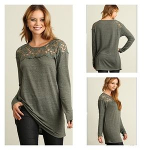 Tops - 🛒Sale🛒Olive Tunic w/ Lace Detailing