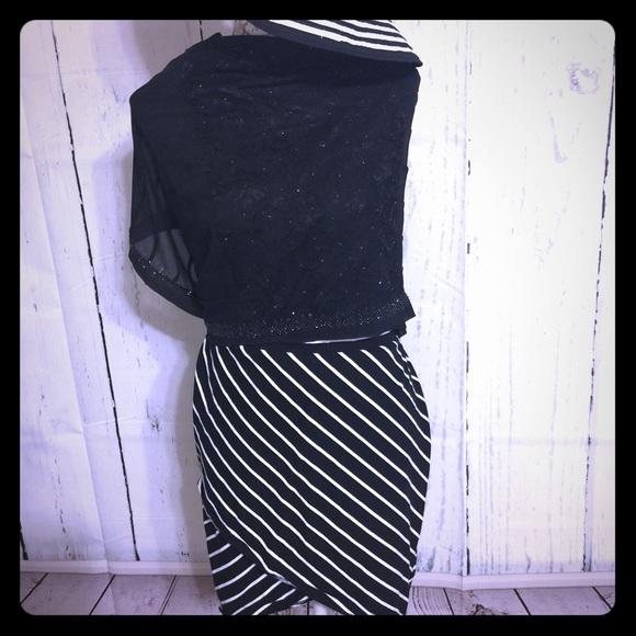 TORRID Black and White striped Shark bite skirt