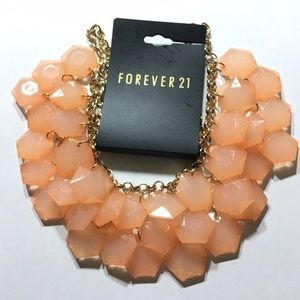 Forever 21 Jewelry - New BEAUTIFUL peach/gold statement necklace!!!