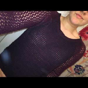 Garage Sweaters - burgundy knit hole sweater