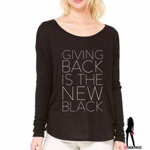 Half United Tops - Giving Back Long Sleeve Black Tee Shirt