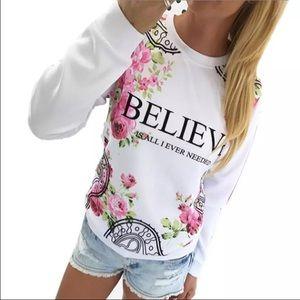 HP 12/6  BELIEVE floral long sleeve shirt